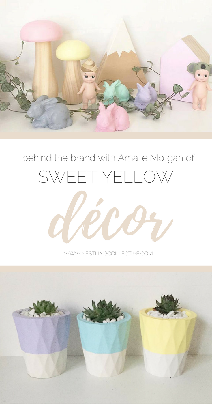 Behind the Brand: Sweet Yellow Décor | handmade original colourful concrete décor pieces | www.nestlingcollective.com