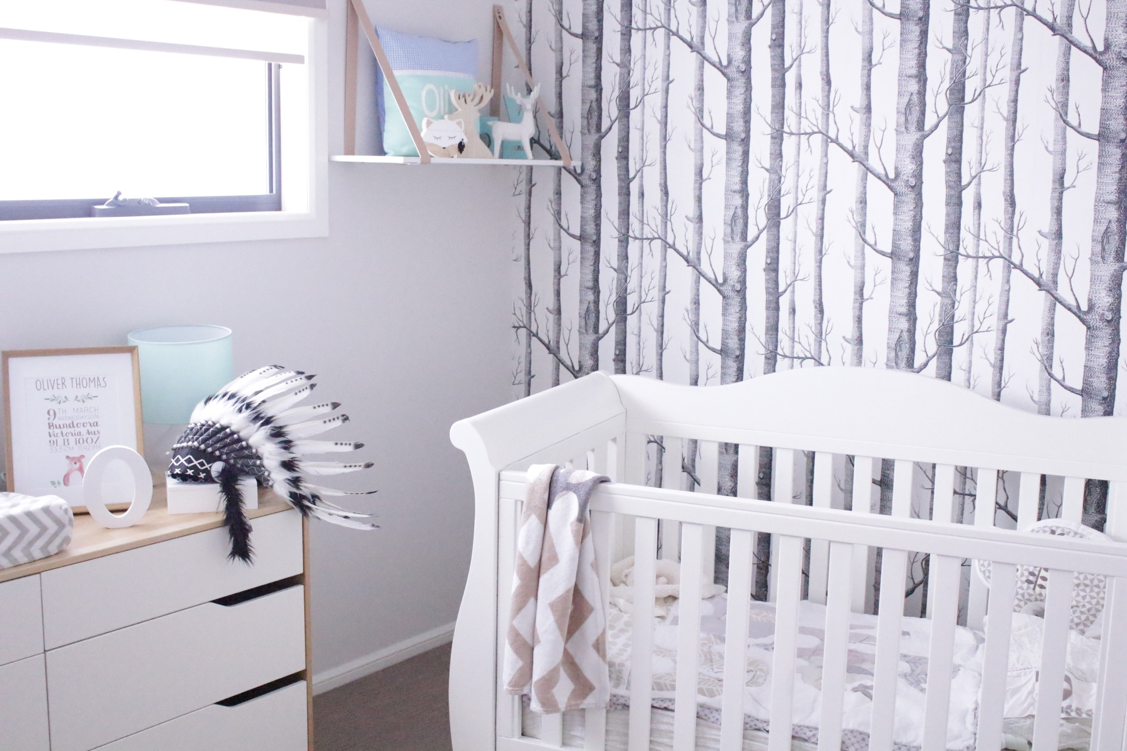 Real Nursery Style | Wood and White with Birch Tree Feature Wall | www.nestlingcollective.com
