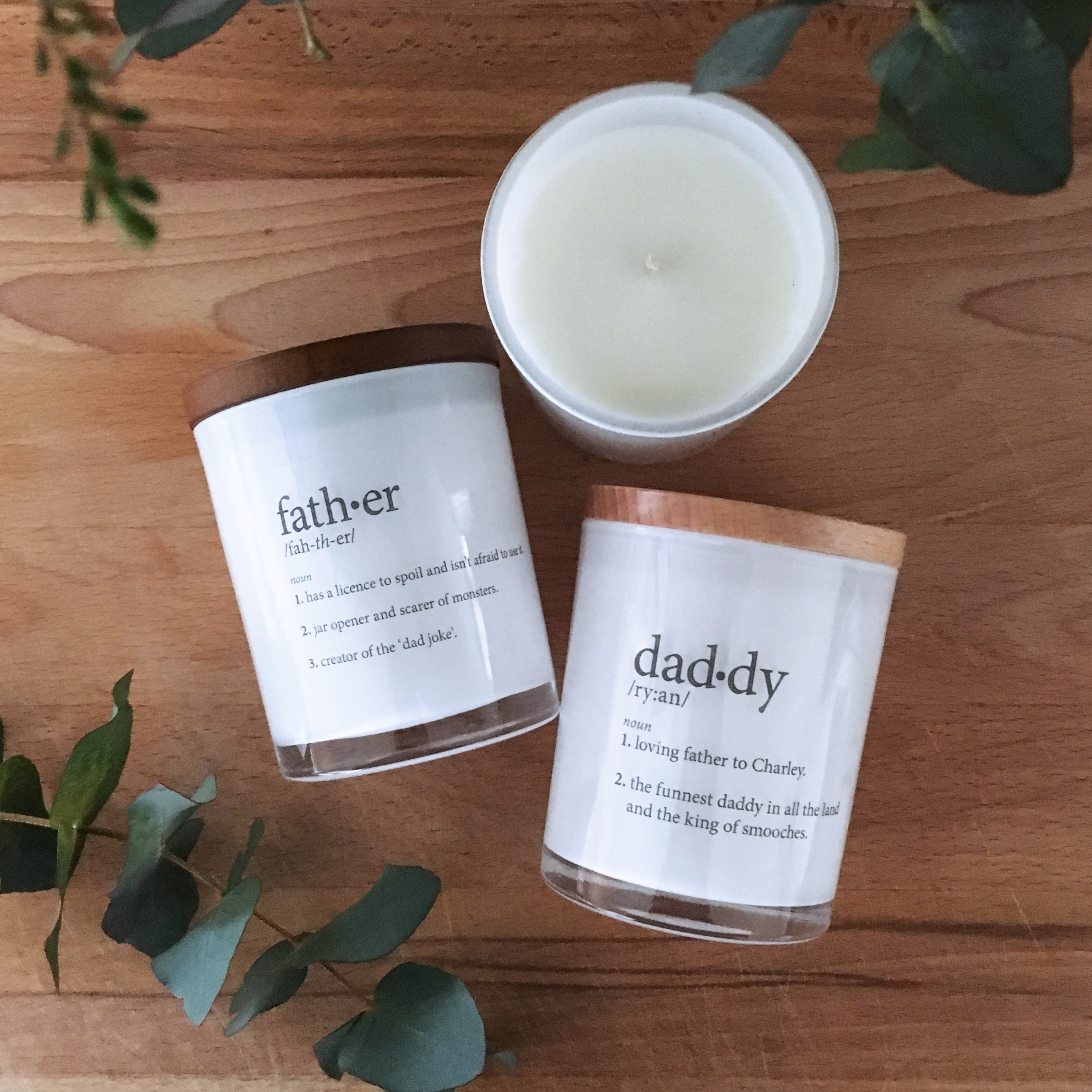 Alma Custom Designs | Father Definition Candle $42 | www.nestlingcollective.com