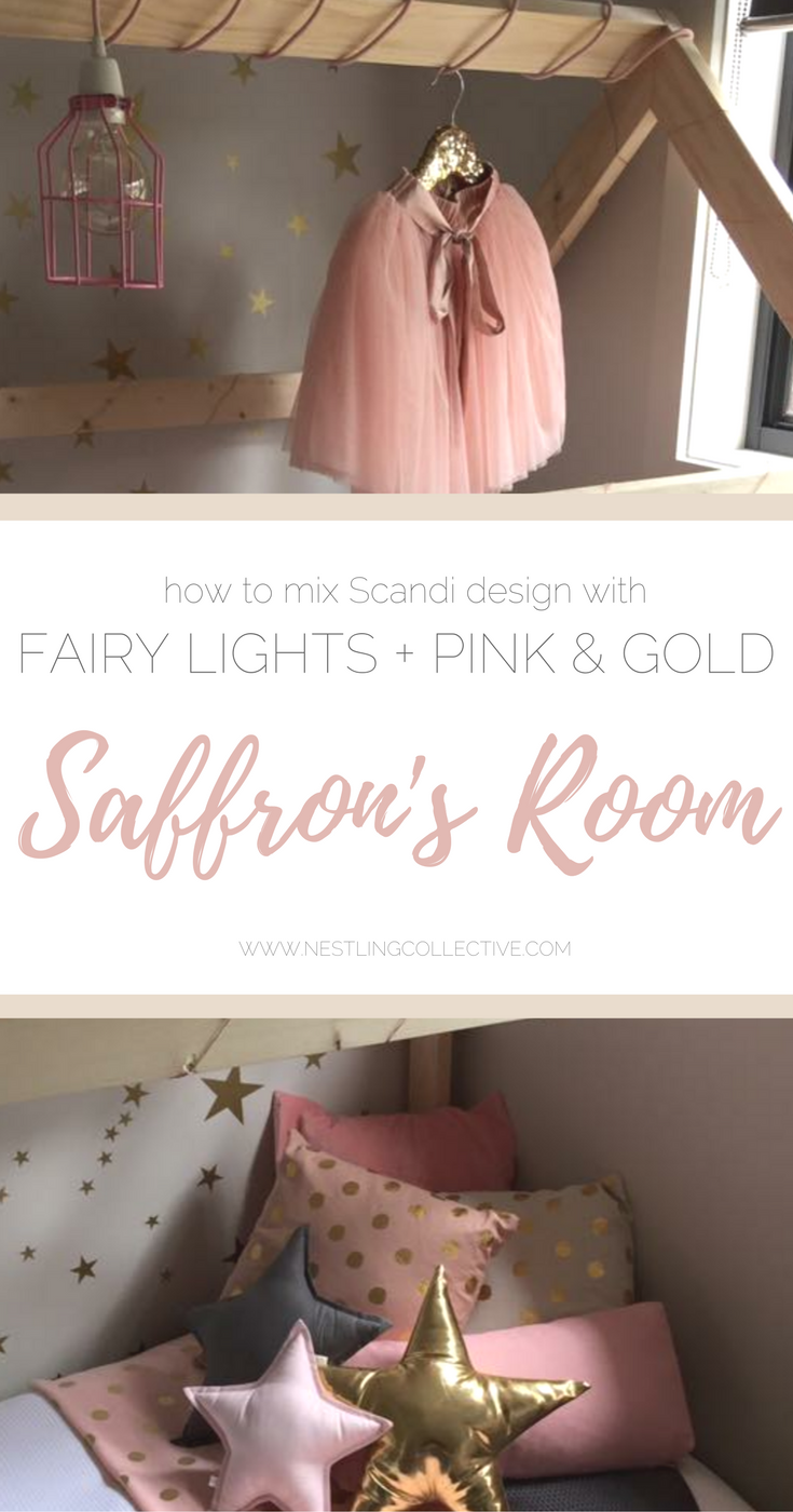 Real Nursery Style | Saffron's Room: A pretty mix of Scandi + fairy lights + pink & gold | www.nestlingcollective.com