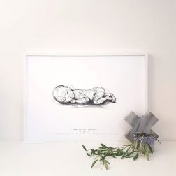 Batdog + The Bear | Newborn illustrations that are digitally scaled to the actual 1:1 length of your baby at their time of birth | www.nestlingcollective.com